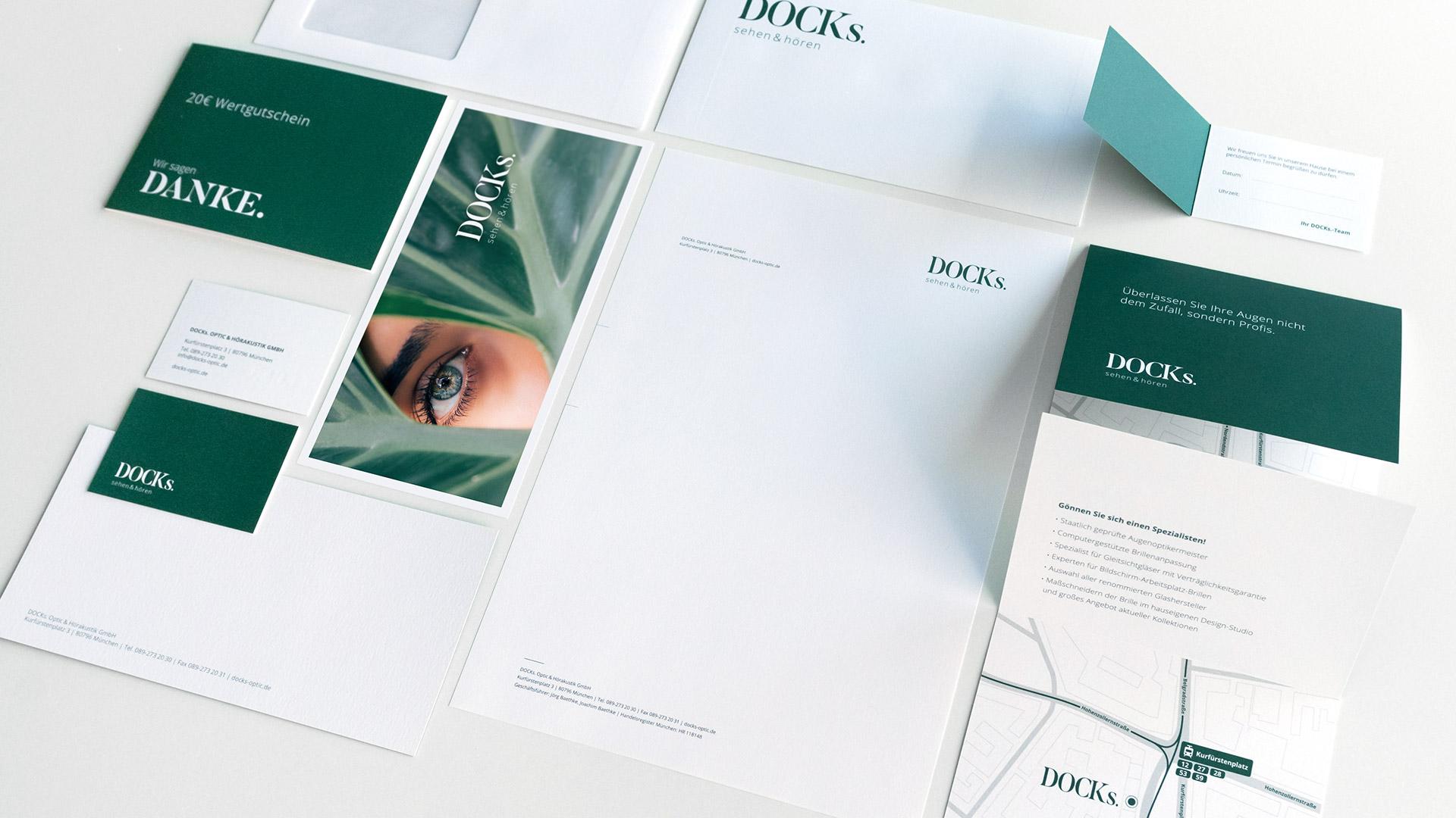 DOCKS sehen & hören Optiker Rebranding Stationery